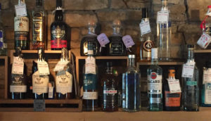 Drinks behind bar